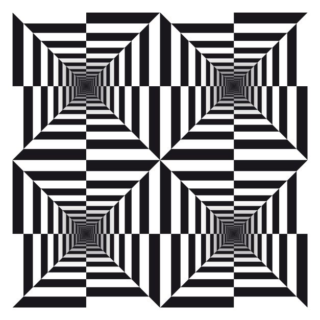 Four square halls optical illusions pinterest victor for Geometric illusion art