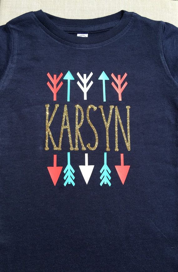 Personalised Initail in Arrow Children/'s T-shirt Fashion Tops Girls Tops