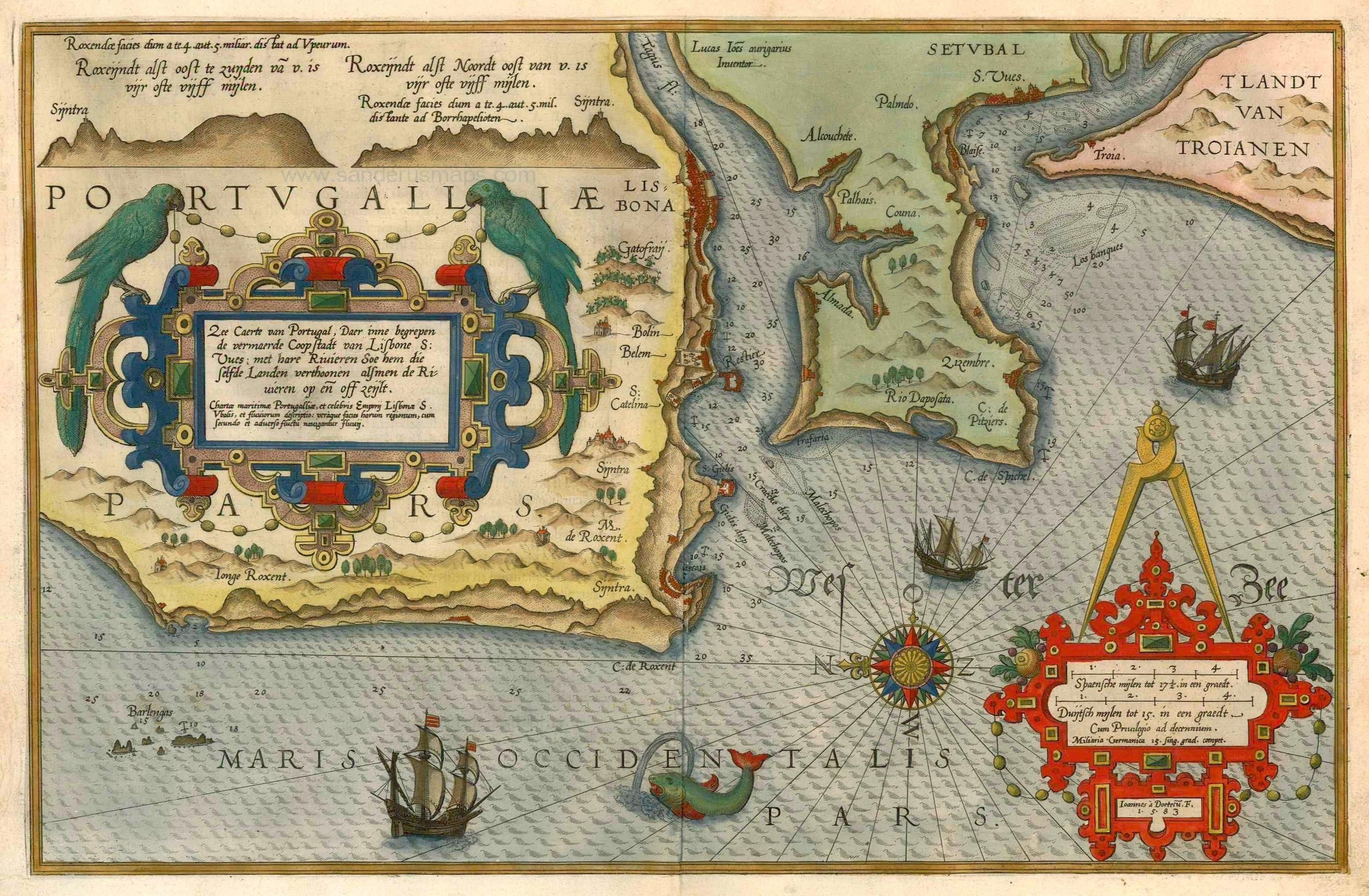 Antique Map Of Lisbon By Waghenaer LJ Sanderus Antique Maps - Portugal map iberian peninsula