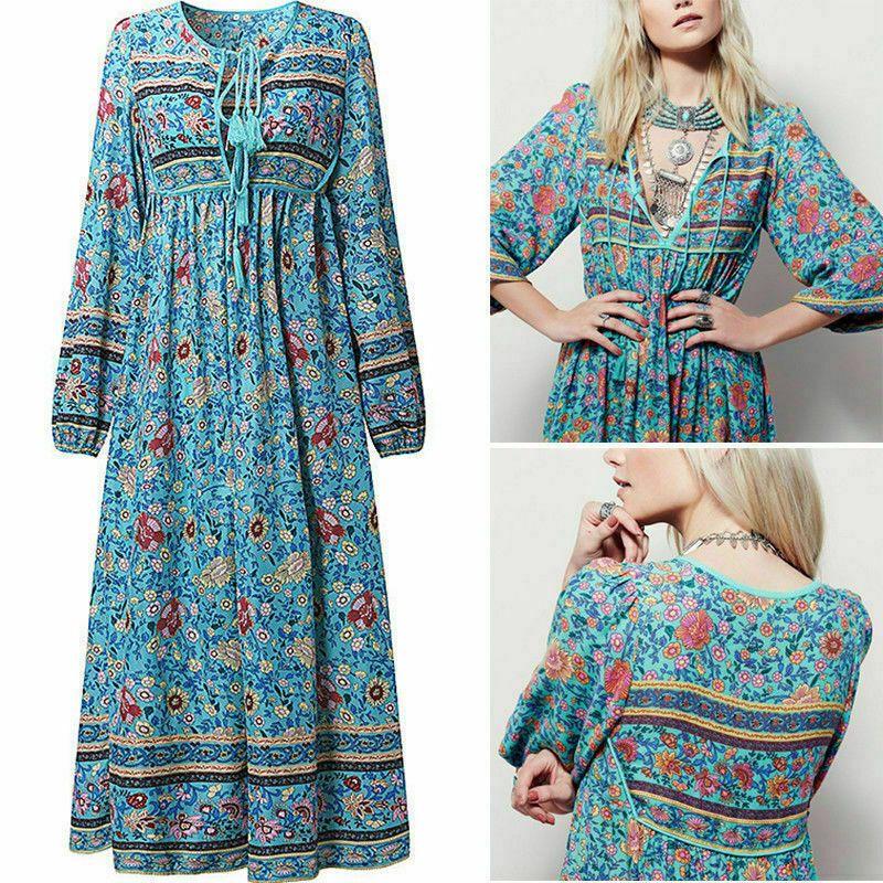um 50 Prozent reduziert letzte Auswahl neuartiger Stil Damen Boho Hippie Sommerkleid Strandkleid Quasten Maxikleid ...