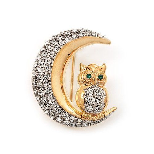 Clear Swarovski Crystal Owl On The Moon Brooch In Gold....................d