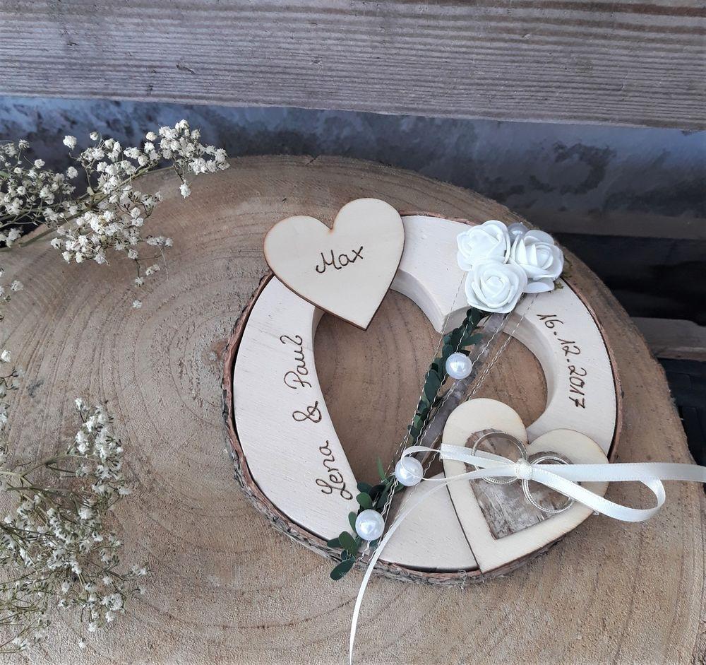 Ringkissen Holz Herz Creme Vintage Mit Gravur 2 Hochzeit