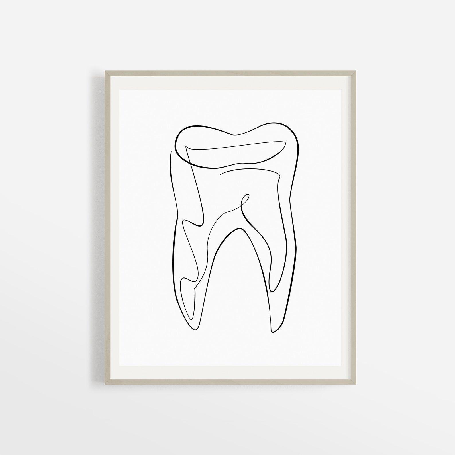 Abstract Dental Art Print Printable Tooth Line Art Dental Office Decor Hygienist Artwork Medical Wall Art Drawing Illustration Sketch In 2021 Dental Art Dental Office Decor Teeth Art