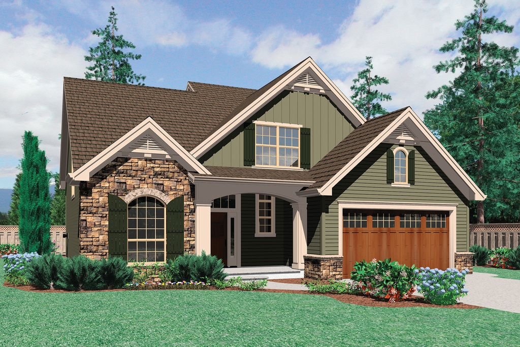 Bungalow craftsman front elevation plan for Houseplans com craftsman