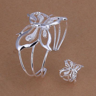 Nice! Sterling Solid Silver Butterfly Bracelet&Ring Set WHS260 + box