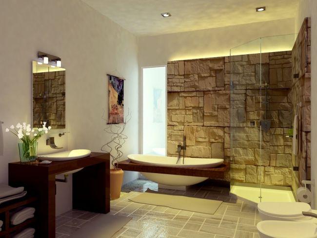 Attractive Zen Bad Ohne Fliesen Natursteinwand Glas Duschkabine Holz Waschtisch