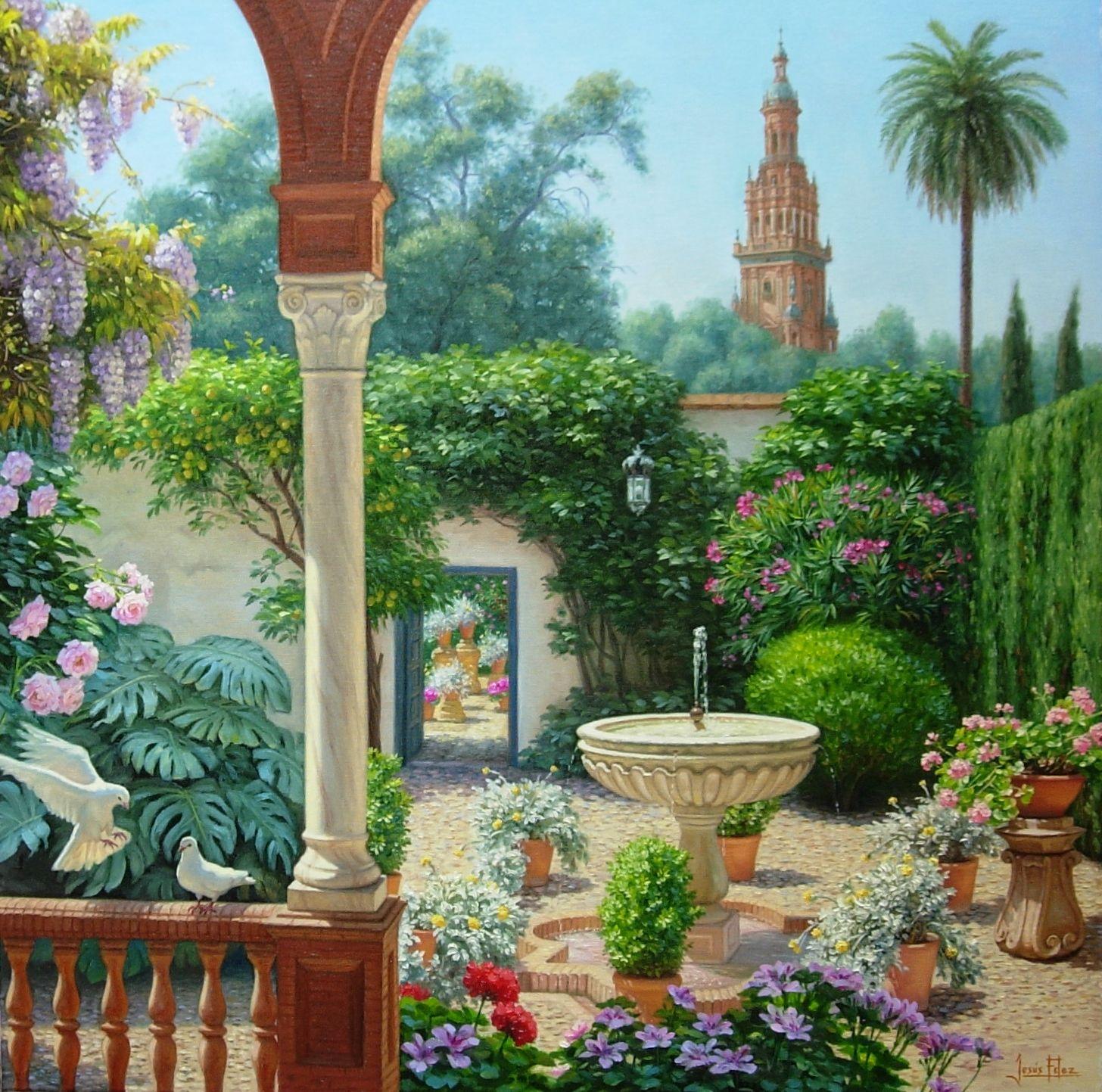 Pintura donde se mezclan temas cordobeses y sevillanos - Oleos de jardines ...