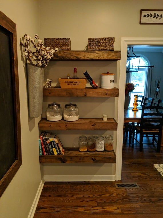Wood Floating Shelves 10 Inch Deep Rustic Shelf Farmhouse Shelf Floating Shelf Reclaimed Floating Shelf Handmade With Images Wood Floating Shelves Rustic Shelves Floating Shelves