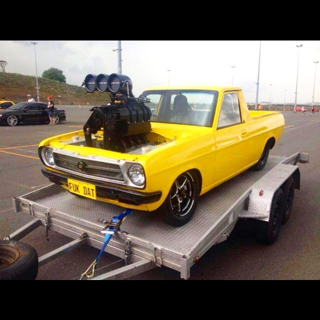 Supercharged Mustang Yellow: #FUKDAT #Datsun #1200 #ute #supercharged #v8 #ls #BigNUgly