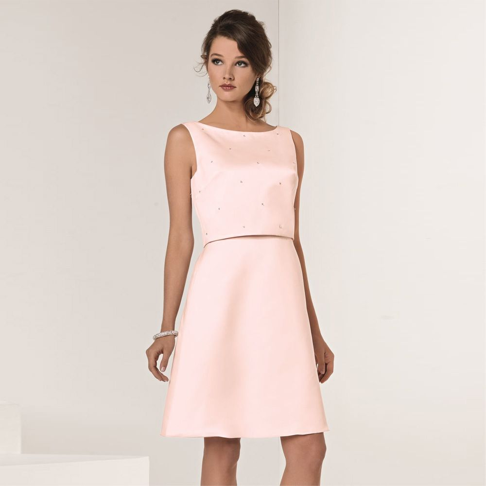 Click to buy ucuc latest design pink sleeveless short bridesmaid