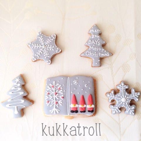 こんにちはクリスマス仕様のアイシングクッキーできました 私の好きな北欧のトムテと、今年ほしい!!と思っているロヴィ(見えるかな。。。。)雪の結晶は冬の時期しか…