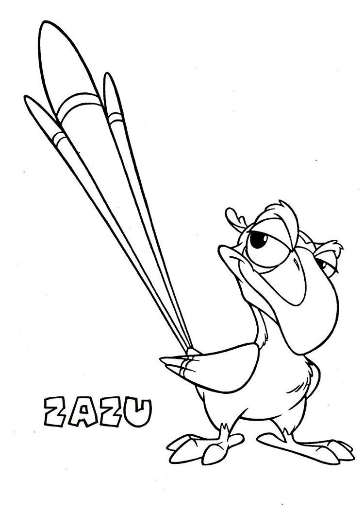 Lion King Zazu Coloring Pages in 4  Lion king drawings, King