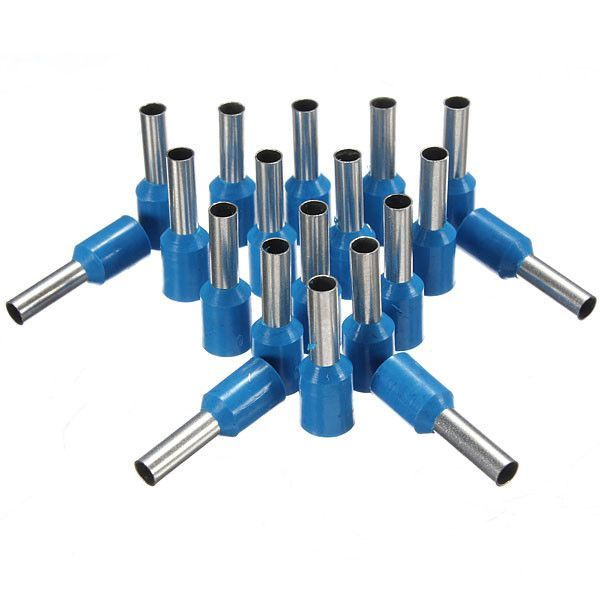 100pcs Awg 14 Blue Wire Copper Crimp Insulated Cord Pin End Terminal ...
