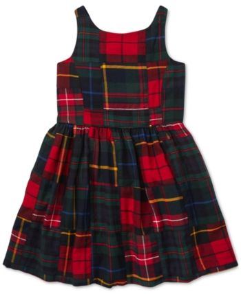 7610ba47b6 Polo Ralph Lauren Toddler Girls Tartan Patchwork Cotton Dress - Navy ...