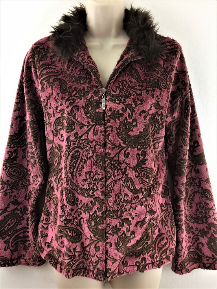 Womens Small Vine Street Faux Fur Soft Paisley Jacket Zip Front with Pockets USA #VineStreet #BasicJacket #Casual