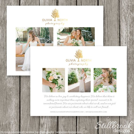 Marketing Card Template Wedding Photography Promo Advertising Flyer For Photographers Gold Foil