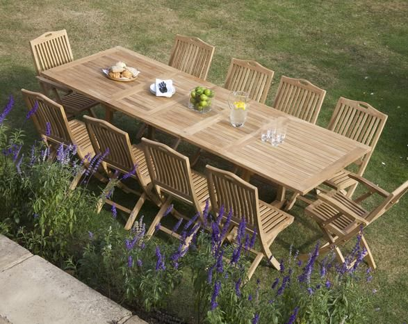 Rectangle Double Extending 10 Seater Table Set Wooden Outdoor Table Outdoor Tables And Chairs Garden Furniture Sets