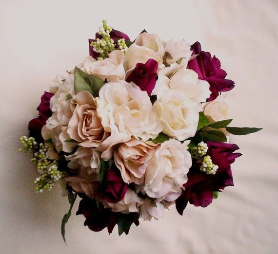 Silk wedding flowers burgundy wine ivory roses by for Bouquet de fleurs wine