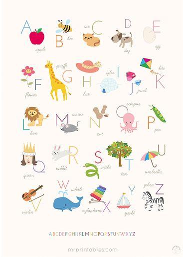 15 Free Nursery Printables Free Wall Art Alphabet Poster Free Printable Wall Art