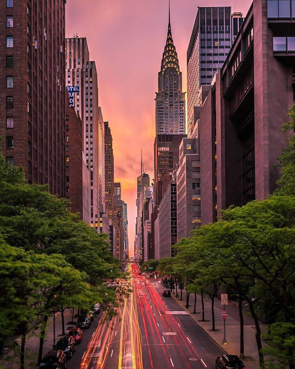 42nd St At Sunset By Killahwave Spring In New York New York Wallpaper New York Pictures