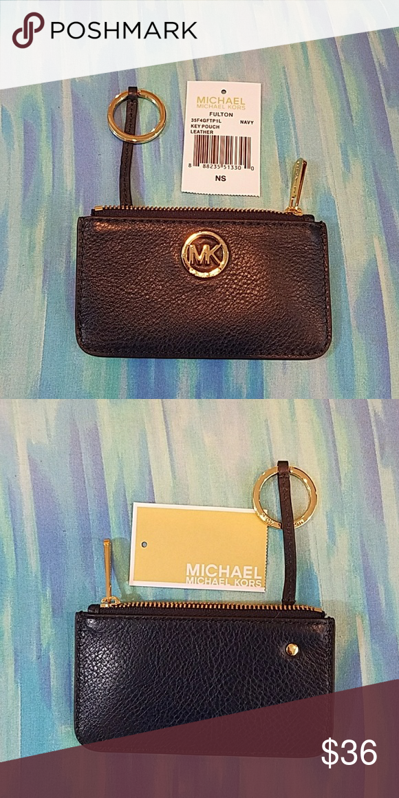 7c81a6632bb4 Michael Kors Fulton Key Pouch Navy Leather This is a dark navy blue leather  with gold