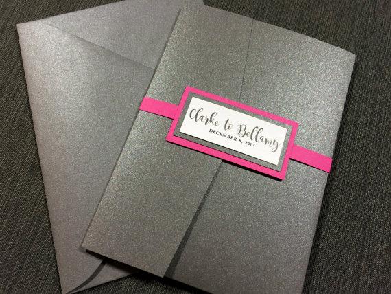 Pink And Gray Wedding Invitations Hot Fun Grey Metallic Clic
