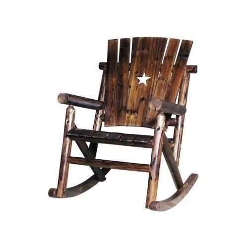 Rustic Wooden Rocker Rocking Chair Porch Patio Texas Star Outdoor
