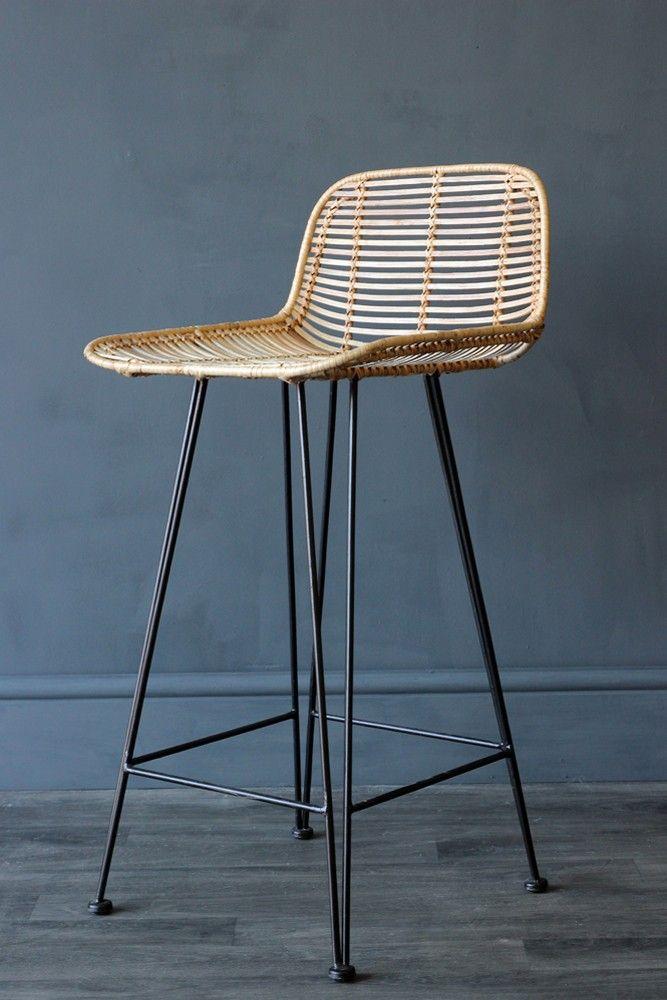 Blonde Rattan Bar Stool Stools Furniture