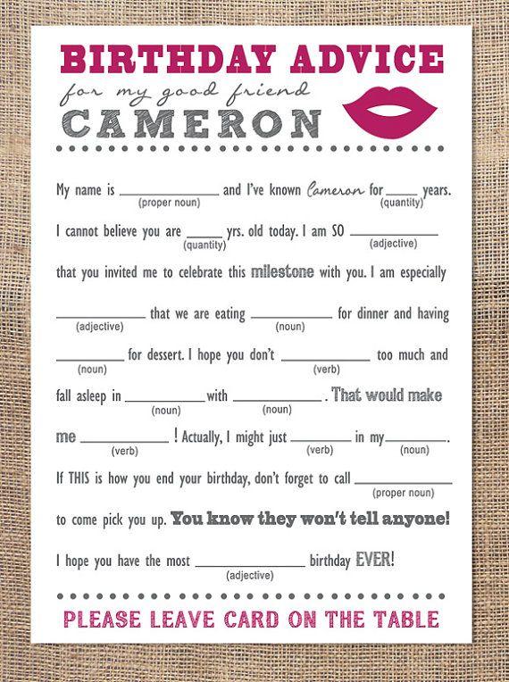 Birthday Advice Card Mad Libs Lips Sweet 16 Pinterest