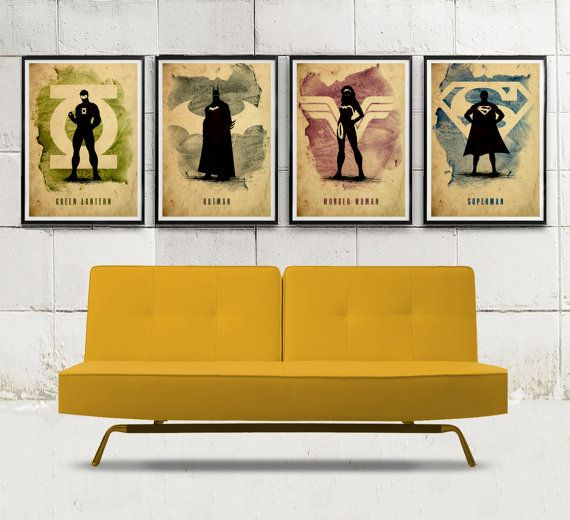 Justice League Minimalist Poster Set / Batman, Green Lantern, Superman, Wonder Woman on Etsy, $50.77 CAD
