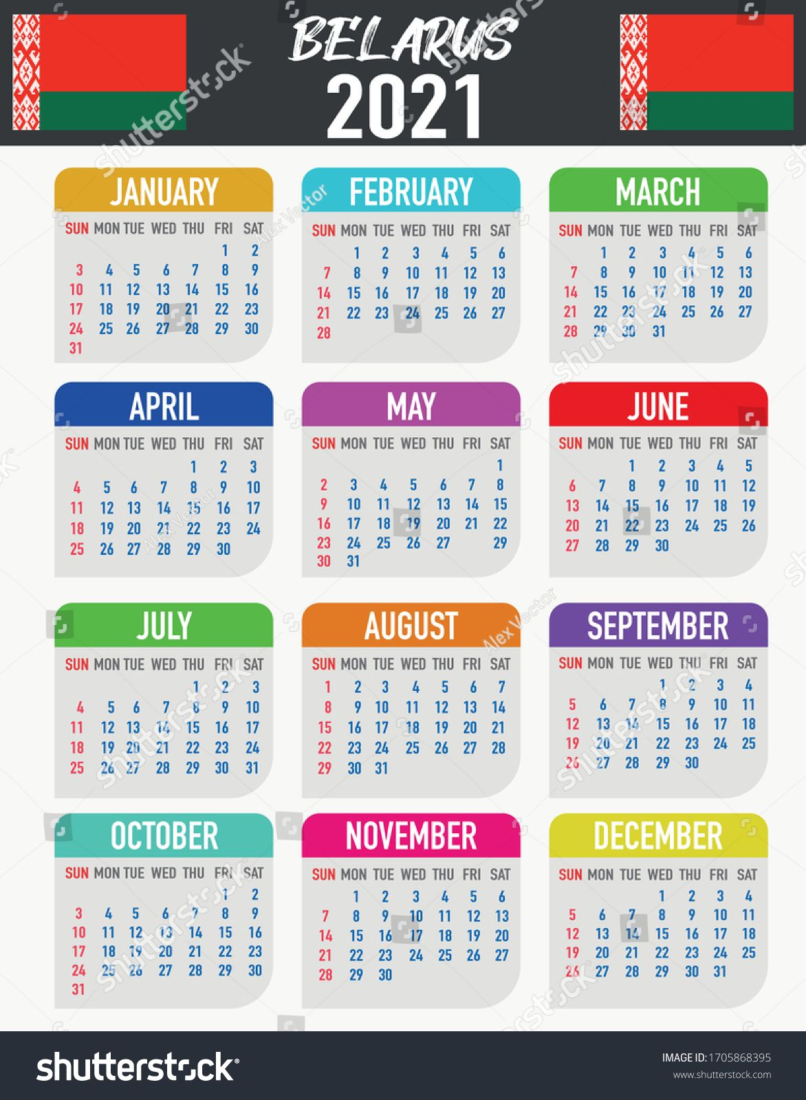 2021 Year Calendar With National Flag Of Country Belarus Month Day Week Colorful Palette Trendy Simply De In 2020 Flag Country National Flag Branding Design Logo