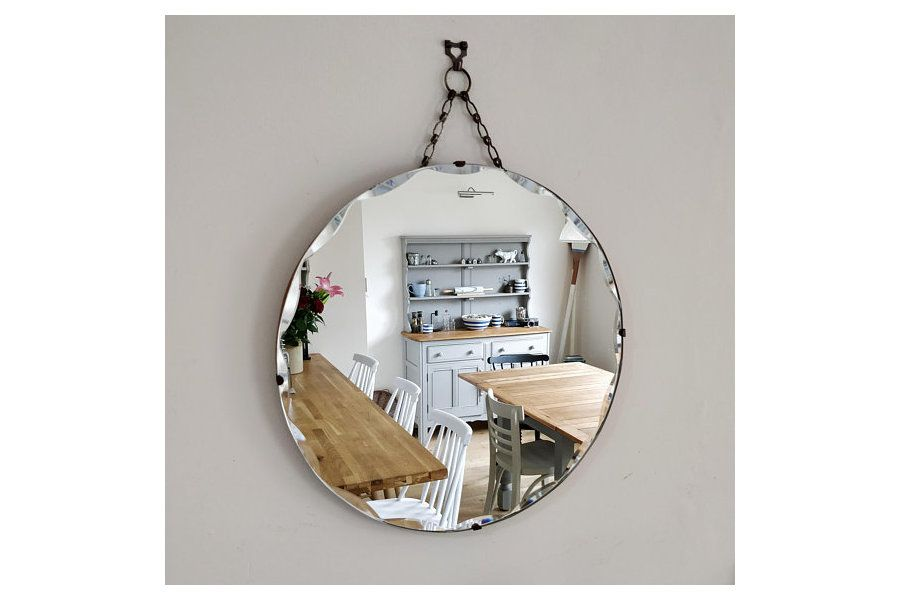 Mirror Vintage Round, How To Hang Vintage Mirror On Chain