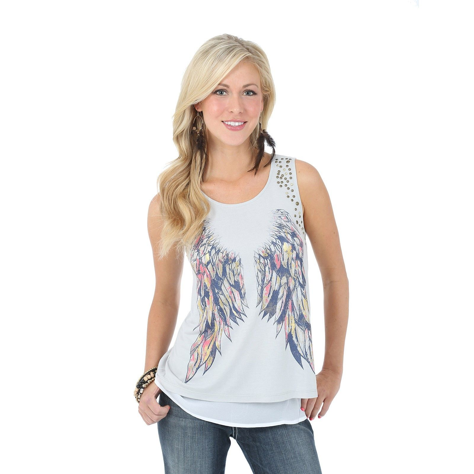 Rock 47™ by Wrangler® Tank with Feather/Wing Design - Multi