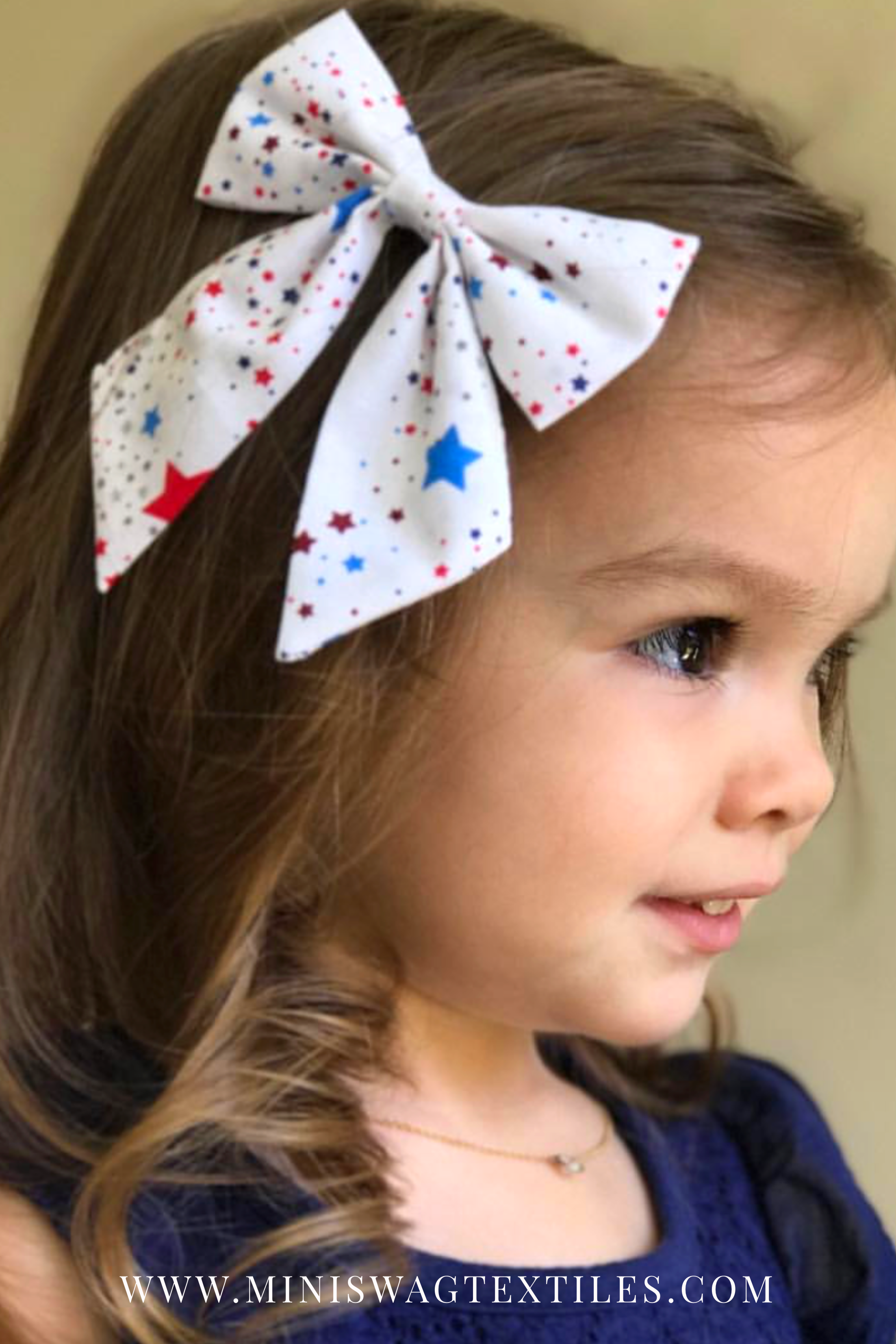 Red White Blue Printed Newborn Headband Baby Girl Hair Fourth Of July Bow