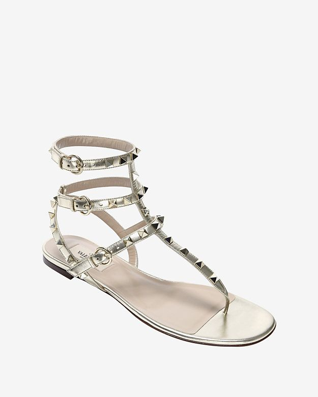 5b3ff5e4c50 Valentino Rockstud Triple Strap Gladiator Flat Sandal  Silver ...