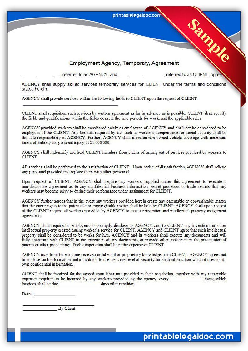 Employment Agency Temporary Agreement Sample Printable