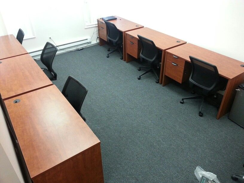 6 Rum Cherry Candex Custom Desk And Lorell Chairs
