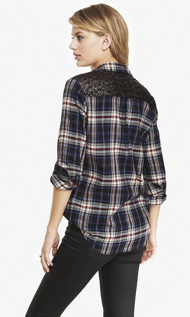 Sequin yoke black plaid boyfriend shirt express for the next