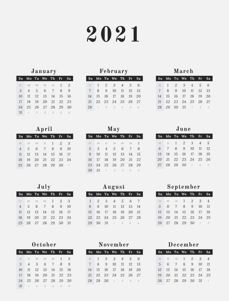 Free 12 Month Word Calendar Template 2021 : Free Printable ...