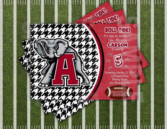 PERSONALIZED Alabama Football Birthday Party Invitations 12ct36ct