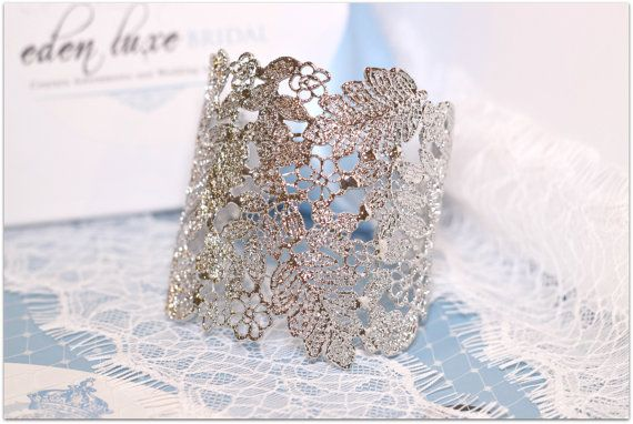 Hey, I found this really awesome Etsy listing at https://www.etsy.com/listing/162523329/lace-bridal-cuff-bracelet-silver-lace