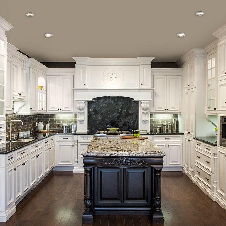 cuisine blanche classique avec ilot brun et comptoir de granit maison pinterest cuisine. Black Bedroom Furniture Sets. Home Design Ideas