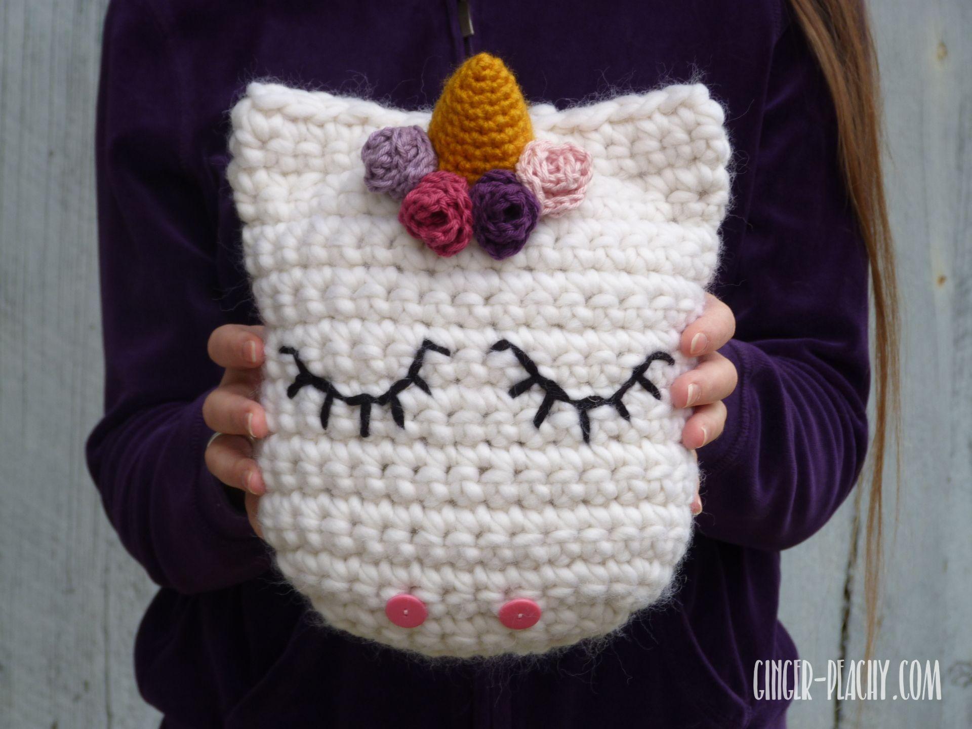 Udora unicorn pillow free crochet pattern at ginger peachy