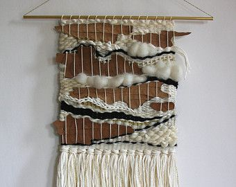 Woven Wall Hangings hand woven wall hanging weaving with natural bark | high fiber