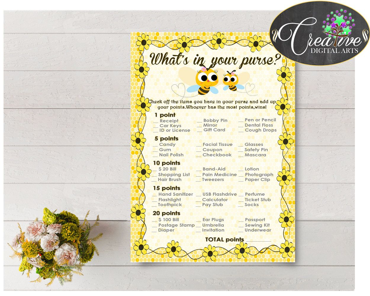 Shower Bee Theme Shower Queen Bee Bag Items Bag Game WHATS IN YOUR Purse, Digital Print, Instant Download, Baby Shower Idea - bee01 #babyshowergames #babyshower