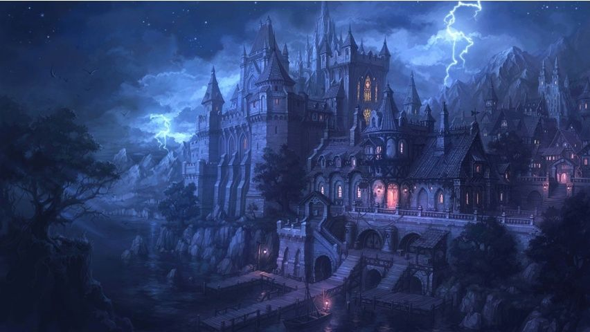 Port Town Fantasy Castle Castle Art Landscape Wallpaper