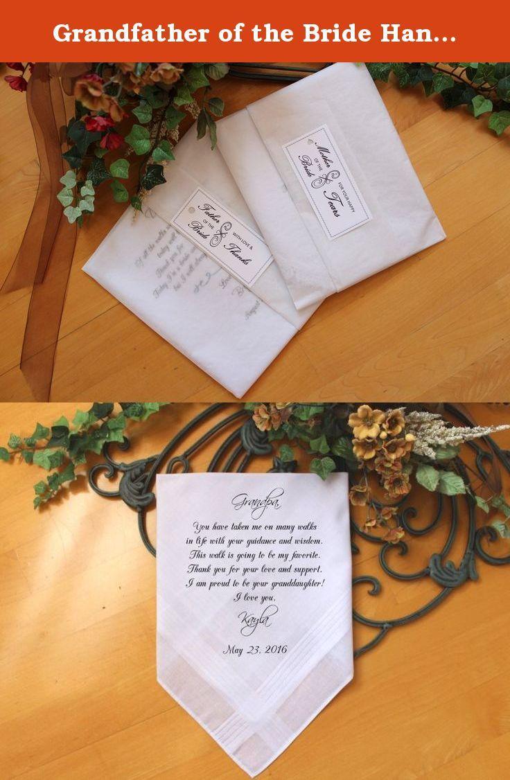 Printed Wedding Hankies-Gift for Grandfather Wedding Handkerchief Grandpa of the Bride Gift