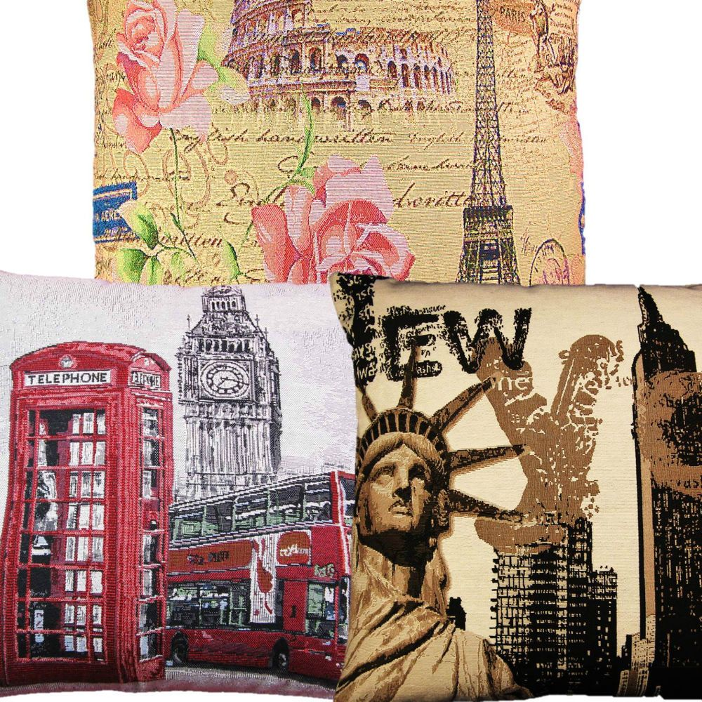 LONDON, NEW YORK, PARIS TAPESTRY CUSHION COVER LUXURY QUALITY 18  x 18