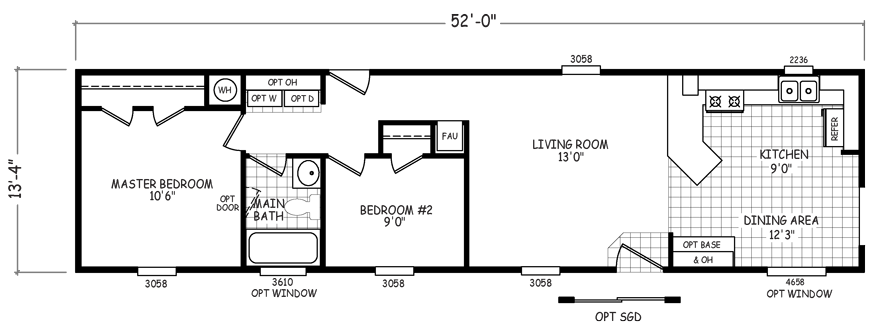 Olympia 14 X 52 693 sqft Mobile Home