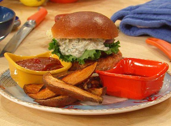 Salmon Burgers with Tartar Sauce and Sweet Potato Wedges